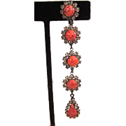 SALE Faux Coral Rhinestone Shoulder Duster Earrings