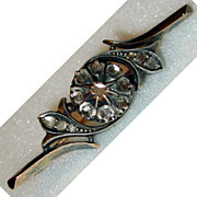 10kt Yellow Gold,Sterling Silver and Rose-Cut Diamond Victorian Brooch/Pin