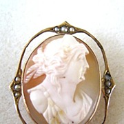 10K Yellow Gold Cultured Seed Pearl Cameo Pin/Pendant