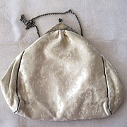 Gorham Sterling Silver Framed Cream Silk Purse