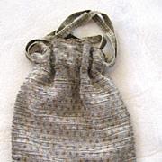 SALE Steel Bead Reticule Drawstring Purse/Bag