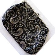SALE Black and Gold Brocade Rhinestone Clutch/Handbag