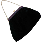 SALE Black Velvet Purse with Leather Bow