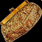 SALE Gate-Neck Mesh Gold-tone Purse with Rhinestone Clasp