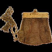 SALE Vintage Small Gold-Tone Fine Metal Mesh Purse
