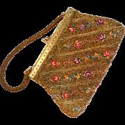 SALE Gold-Beaded Floral Tapestry Handbag/Purse