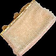 SALE White Beaded Mother-of-Pearl Purse/Handbag