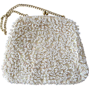 SALE Cream-Colored Beaded and Sequin Handbag