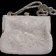 SALE Ed Robinson White Beaded Handbag