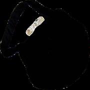 SALE Black Velvet Purse with Lucite Bar Clasp