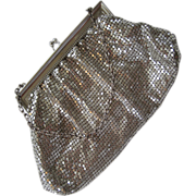 SALE Whiting & Davis Silver-tone Mesh Purse with Mirror Comb