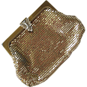 SALE Whiting & Davis Gold-Tone Purse with Rhinestone Clasp