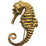 SALE Gold Vermeil Seahorse Brooch/Pin