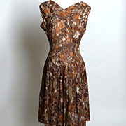 Circa 1950s Mode O'Day Brown Floral Dress