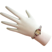SALE Circa 1940s 14K White Gold Diamond, Ruby Bulova Excellency Watch