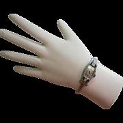 SALE Art Deco Bulova 14K White Gold Diamond and Emerald Watch