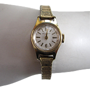 SALE 1960s era Belforte Ladies Gold-Tone Watch with 10K Gold-Filled Stretch Band