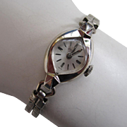 SALE 14K White Gold Ladies Swiss Zodiac Watch with Double-Snake Adjustable Band