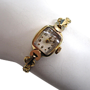 SALE Circa 1950s 14K Yellow Gold Ladies Hamilton Watch with 12K Gold Filled Band