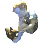 SOLD Rosenthale Porcelain, Boy with Squirrel - Red Tag Sale Item