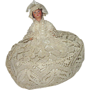 Tiny doll house lady dressed in old lace.  12:1 size