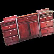 3 piece Doll House wood cupboard kitchen set