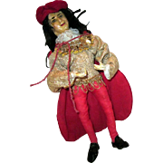 SALE Old King or Jester wax and cloth Doll