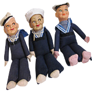 REDUCED 3 Norah Wellings Sailor Boy Dolls from vintage cruise lines