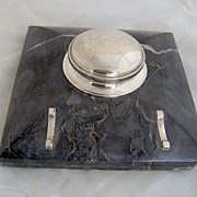 1920's Sterling and Black Marble Tiffany Inkwell