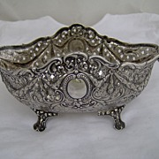 c.1900 German Solid Silver Highly Ornate Bowl, Ram's Heads
