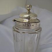 1832 English Sterling Silver and Cut Class Mustard Jar