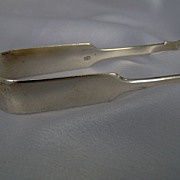 1846 English Very Heavy Sterling Silver Sugar Tongs