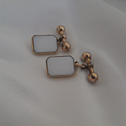 SALE Antique 10K yellow gold and White Glass Cufflinks