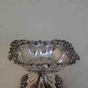 SALE 19th c. Sterling Silver  French Repousse Armorial Pedestal Salt Cellar