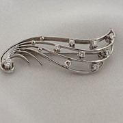 SALE Estate 18k White Gold - 9 diamond  JABEL Brooch Angel Wing