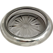 "7"" Sterling Silver and Glass Wine Coaster, Frank Whiting"