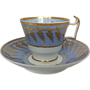 1810 English Spode Cup and Saucer with London Handle
