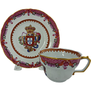 Reproduction of 18th century Chinese Export Armorial Cup and Saucer for the French Market