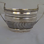 1801 Large English Sterling Silver Double handled Sugar Bowl