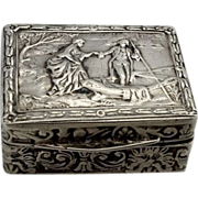 Italian Repousse .800 Silver Pill Box  Boating