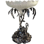 Antique Silver Plated Egret Palm Tree Compote Figueral