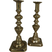 "19th Century English Brass Beehive 11"" candlesticks"