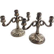 Pair of Antique .835 Solid Silver German Candleabras