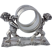 Vintage Silver Plate Figural Napkin Ring  2 Cherubs