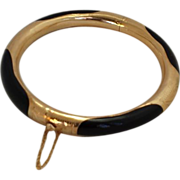 Chinese 14k Black Jadeite Bangle with Safety Chain