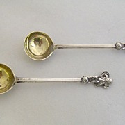 1872 English Sterling Silver Salt Spoons Cherub Finials