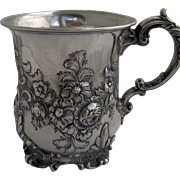 1847 Spectacular English Sterling Repousse Christening Cup or Tankard