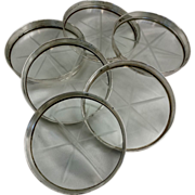 6 solid side Sterling Silver Glass Coasters
