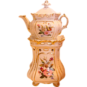 French Old Paris Veilleuse Demitasse Teapot on Warming Stand Hand Painted Roses Flowers c 1835