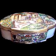 SALE French Limoges HUGE Hinged Box Scenic Landscapes Artist Caffy c 1960